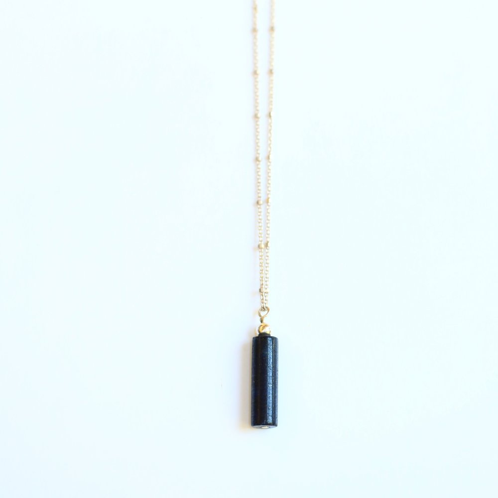 Blue Lapis Lazuli Tube Stone Necklace  with Gold Flecks Silver or 14 Karat Gold Fill Chain:  $125/$150