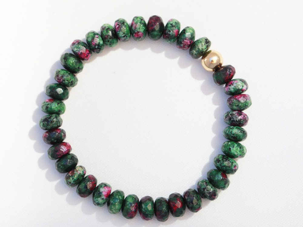 Ruby Zoisite Stretch Bracelet  with 7mm Ruby Zoisite Stones Accented with a 14 Karat Gold Fill Ball:  $75