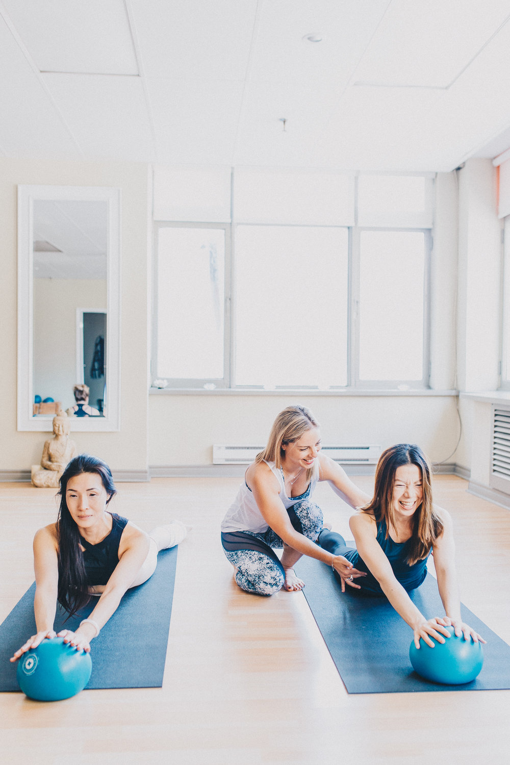 Imprint Pilates Group fitness classes, healthy fit woman, Swan Dive mini Stability ball, Anita Ivic