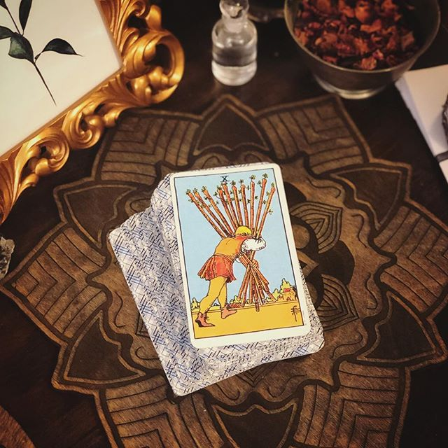"The 10 of Wands... the load is getting heavy. ✨ . This card speaks to burden, responsibility and carrying a weight that may be becoming too heavy. It recognizes that we are tired and that we are trying. It shows up like old wisdom and says ""I see you and you need a breather."" It's the validation you need when you're feeling like maybe it's beginning to spiral. Listen to it, ask for help and lighten the load.🔮 . The accuracy of daily card pulls still astonishes me at times. ✨ Happy Friday lovelies. 🙏🏼 . #tamedwild #tarot #dailypull #tarotreader ."