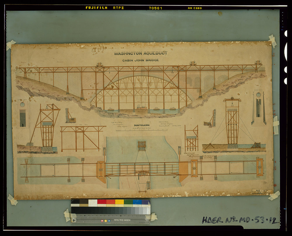 Watercolor rendering of the Cabin John Bridge. Image: Montgomery Meigs via   Library of Congress  /Public Domain