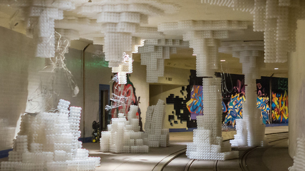 "In 2016 the Dupont Underground housed a temporary art exhibit called ""Re-Ball"" with plastic stalagmites and stalactites. Photo:   Victoria Pickering   / CC BY-NC-ND 2.0"
