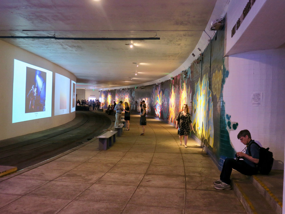 A video art exhibit is projected onto tunnel walls. Photo:   Joe Flood  /CC BY-NC-ND 2.0