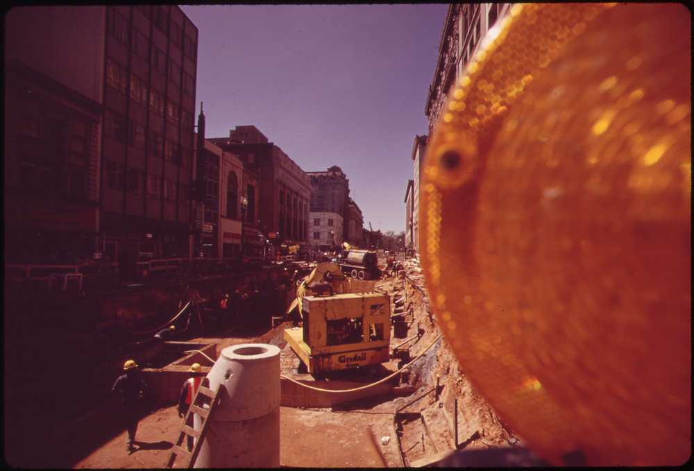 Cut and cover construction in April, 1973 has rendered this stretch G Street by Metro Center completely impassable. Photo: Dick Swanson via  National Archives and Records Administration