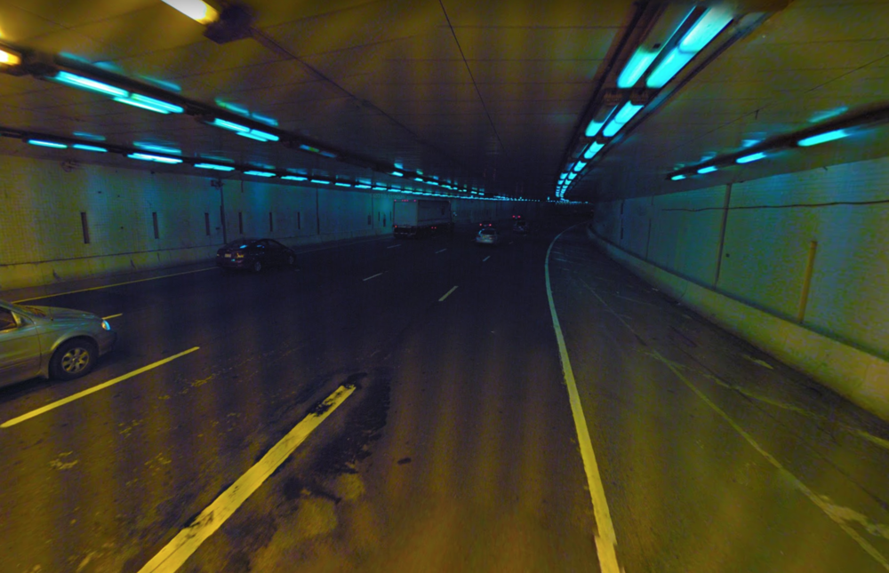 Yellow light fades to blue. Photo:   Google Streetview  /Fair Use