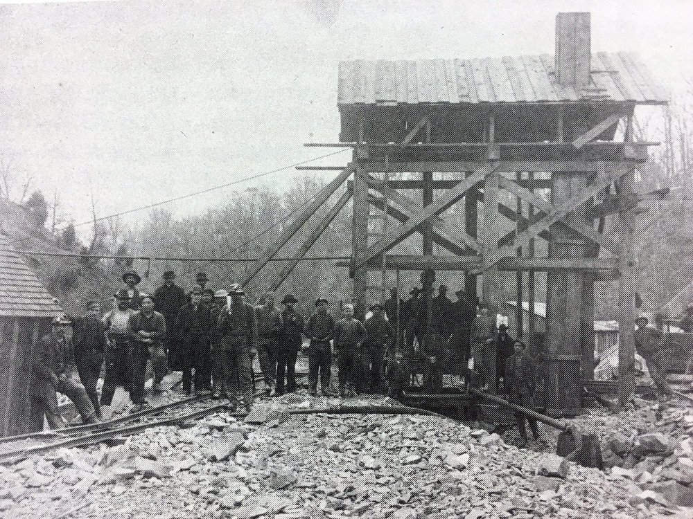 Workers about to enter the Lydecker Tunnel shaft beside Rock Creek. Photo:  Army Corps of Engineers /Public Domain