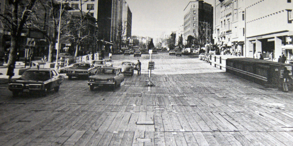 Wooden streetscapes met downtown drivers in the 1970's. Photo:  WMATA