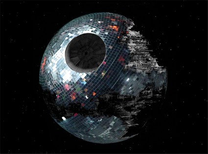 Din Heagney,  Disco Death Star , 2009, collage, 180 x 100 cm.