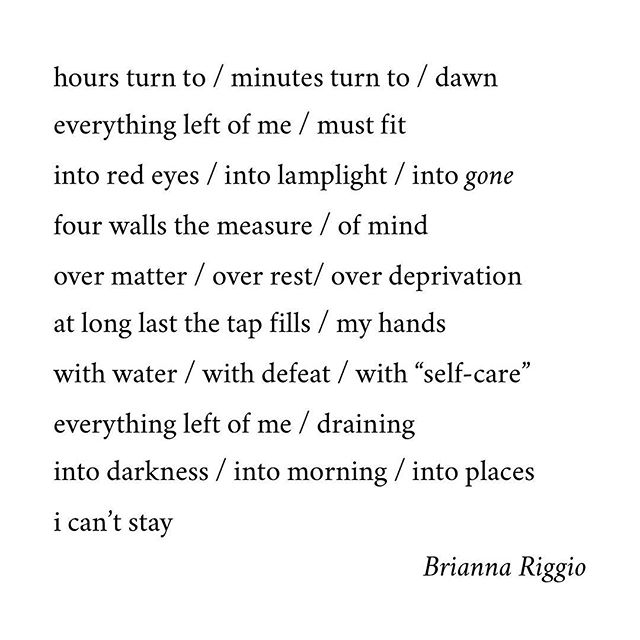 """The Drain"" was written at Milkweed Poetry Workshop #102.  Brianna Riggio (@brianna_riggio) is a third-year English literature and French major at SUNY Geneseo. She is a singer-songwriter from Warwick, NY who has recently released an original album (Yellow Balloon, 2016) and a single (Speak, 2017). She was formerly the managing editor of The Ellis Review, an online poetry publication.  Her music can be found on iTunes, Soundcloud, and Spotify.  #poetry #poem #words #poetsofinstagram #poetrycommunity #drain #time #selfcare"