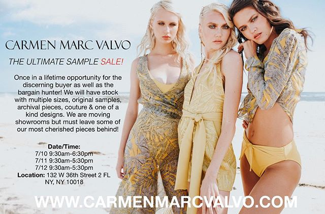 We are having the Ultimate sample sale in our New York City showroom! 3 days! Don't miss this!! #carmenmarcvalvo #samplesalenyc