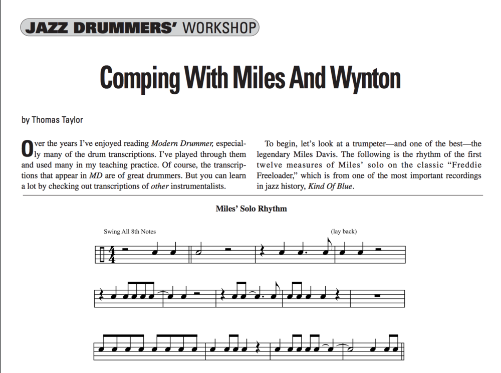 Jazz Drummers' Workshop: Comping with Miles and Wynton - View full excerpt from Modern Drummer