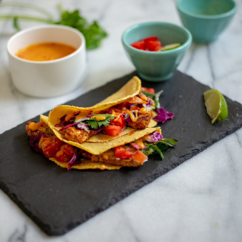 TEMPEH TACOS - Makes 8 tacos | Time: 65 minutes (spent mostly waiting around, sipping a margarita or drink of choice)