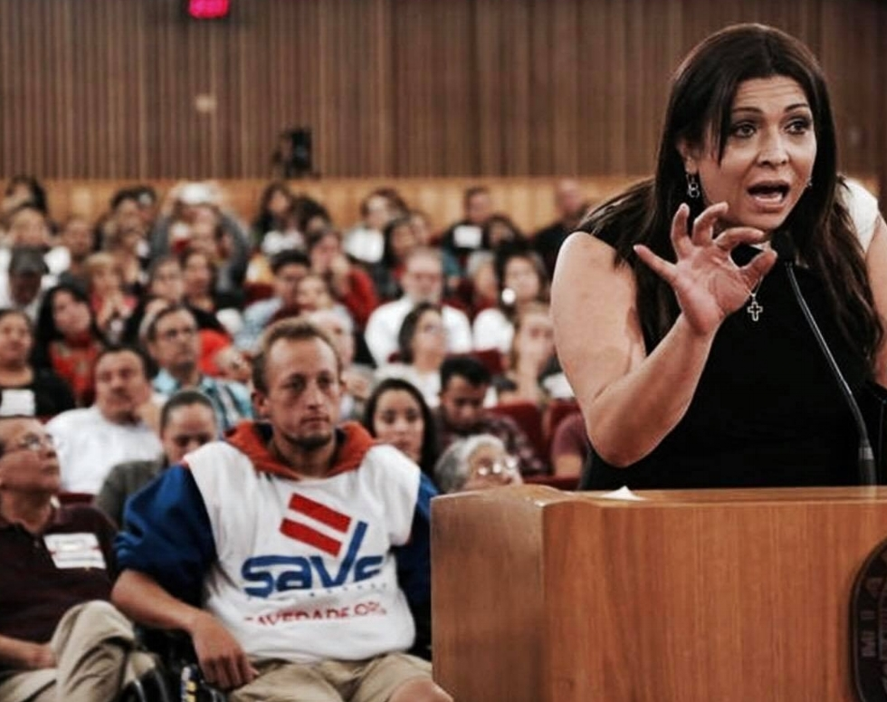 "Arianna Lint, founder of Arianna's Center, a transgender woman and director of transgender services of the Sunserve nonprofit in Broward County spoke to a group of commissioners. ""I receive many calls from many transgenders living in Miami-Dade County who feel discriminated against,"" she said.   CARL JUSTE / MIAMI HERALD STAFF"
