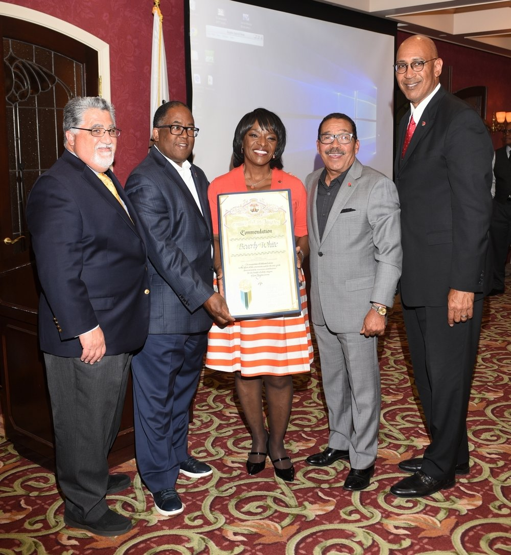 Beverly White with (left to right) California State Assemblyman Anthony Portantino, County Supervisor Mark Ridley-Thomas, President of the Los Angeles City Council Herb Wesson and State Assemblyman Chris Holden.