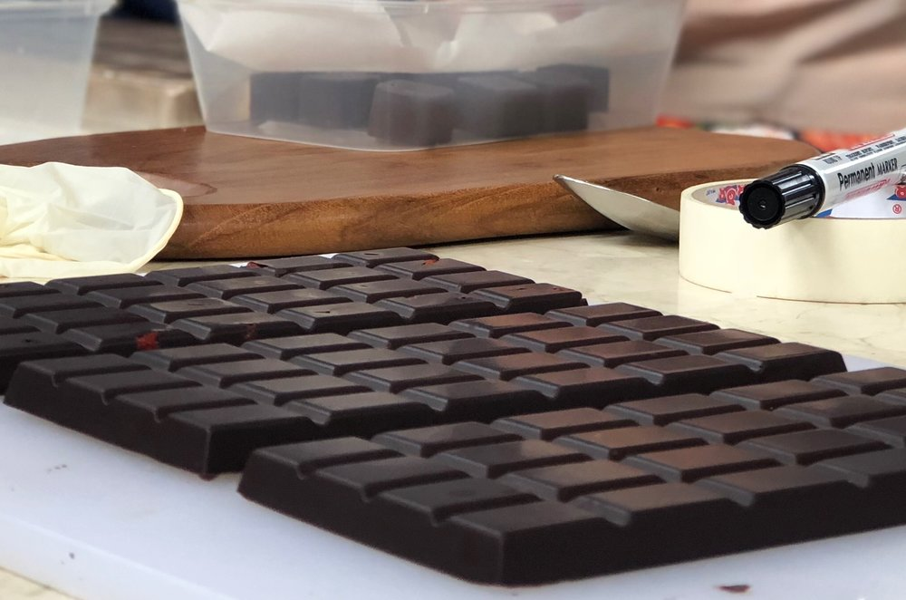 Perfectly tempered chocolate made by our students!