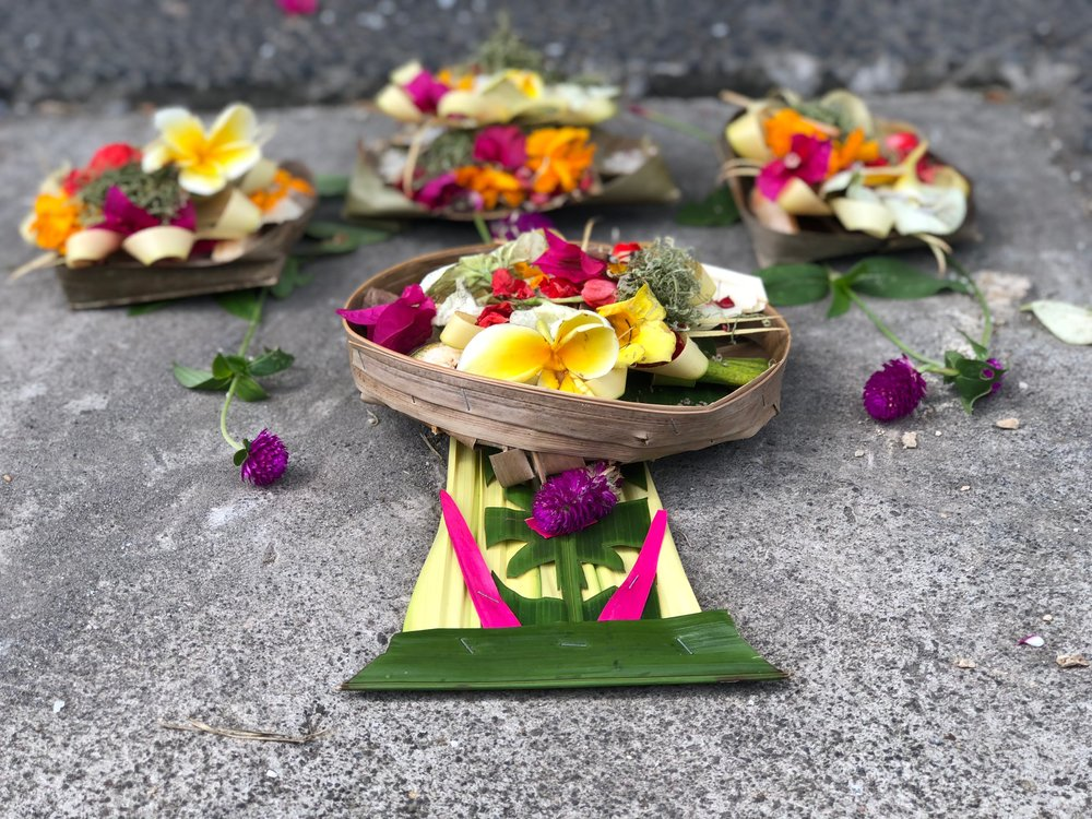 Balinese offerings made from dried coconut leaves.
