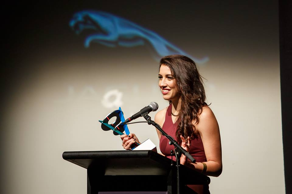 Alexandra Nell at the 28th Annual WA Screen Awards accepting the award for 'Best Actress in a short form drama'  (2016)  Publication: TV Tonight Australia  Written by: David Knox