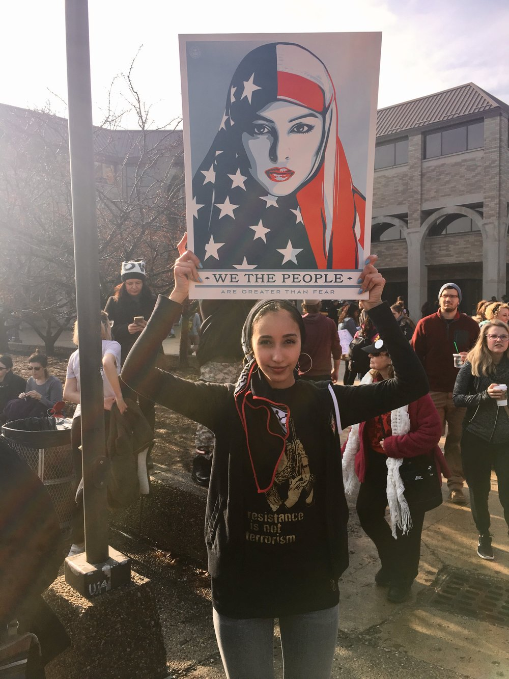 Founas at the 2017 Women's March in Detroit.