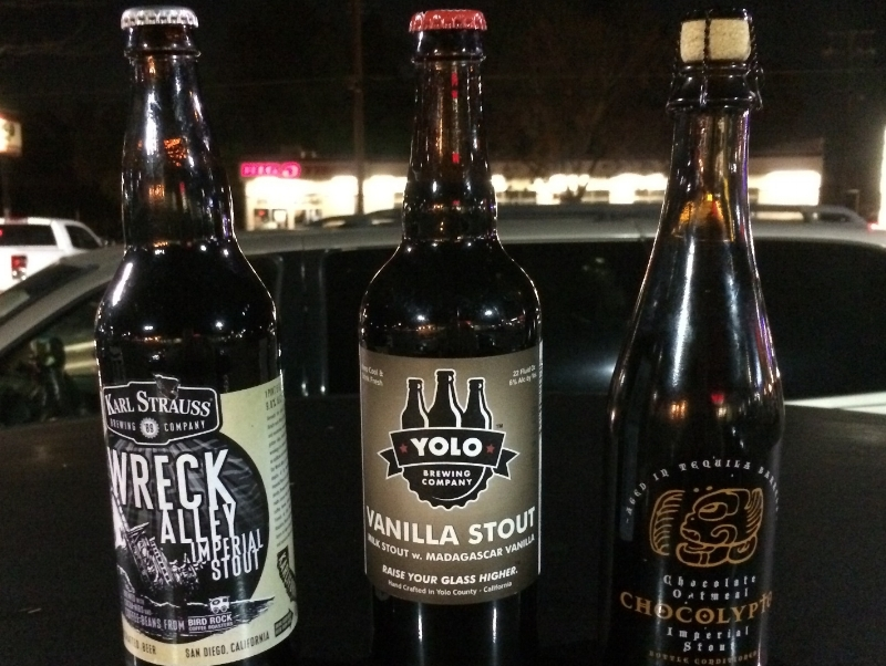 An imperial stout, a vanilla stout and a beer that promises all things to all stout-lovers. There's some seriously cool and strange stuff to ponder here... after I get them off the roof of my car and to a cold glass. Photo by Bob Moffitt