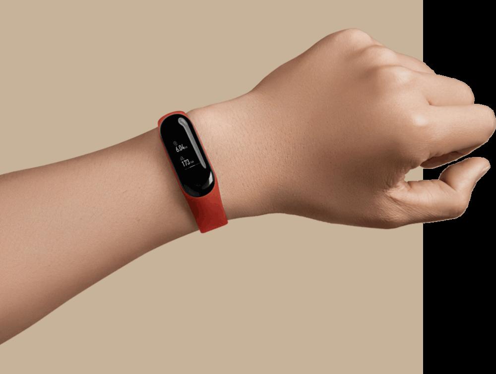 Mi Band 3 i rött - Bild tagen från Xiaomi