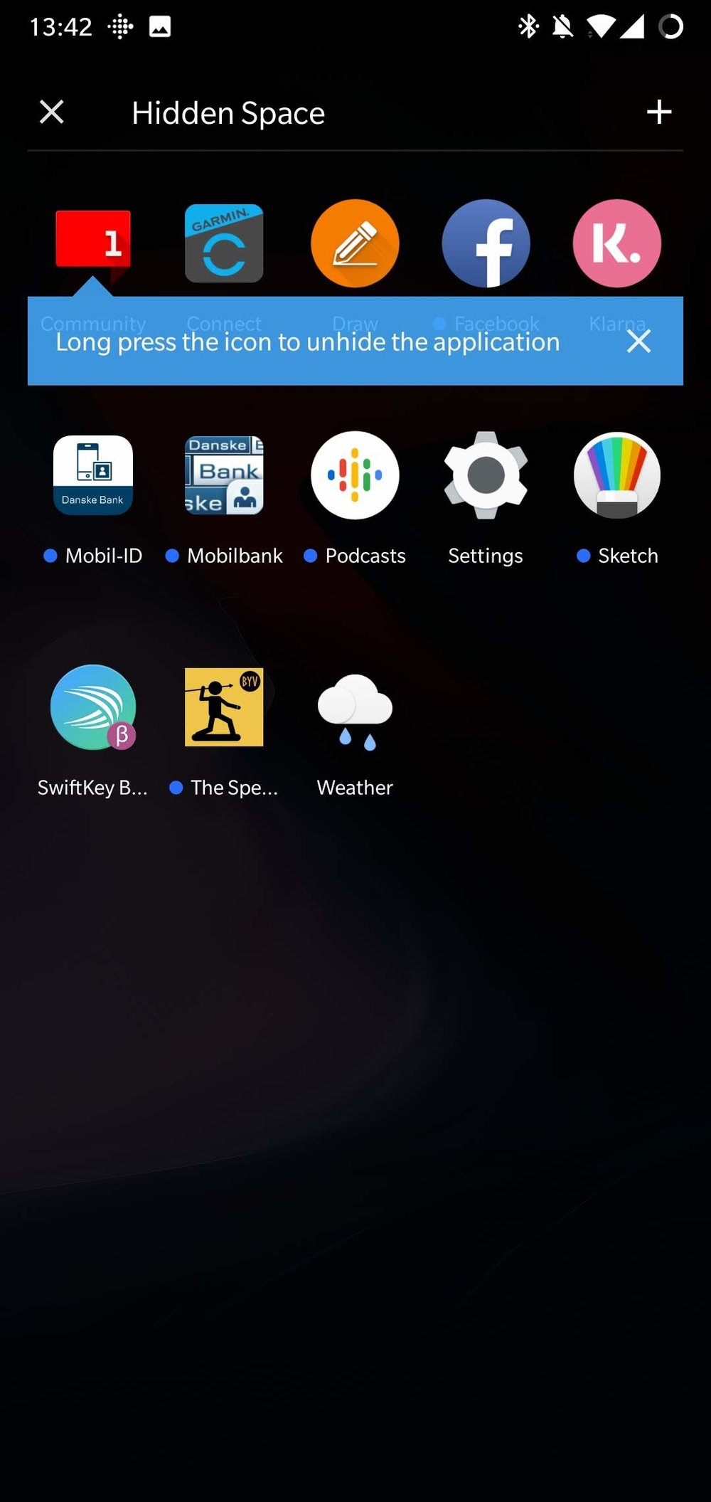 App-Drawer, Hidden Space