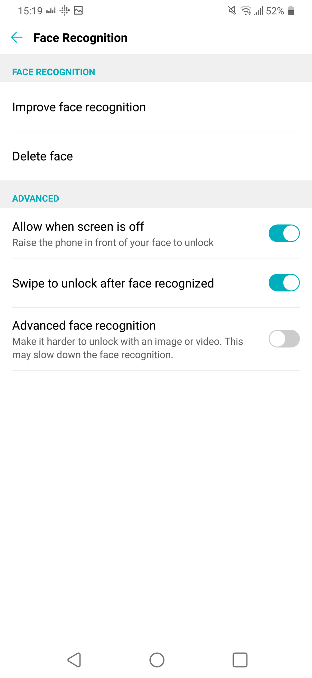 Face Unlock Settings