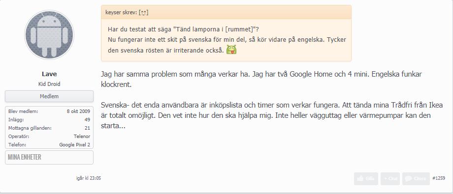 Skärmklipp från Swedroids Forum