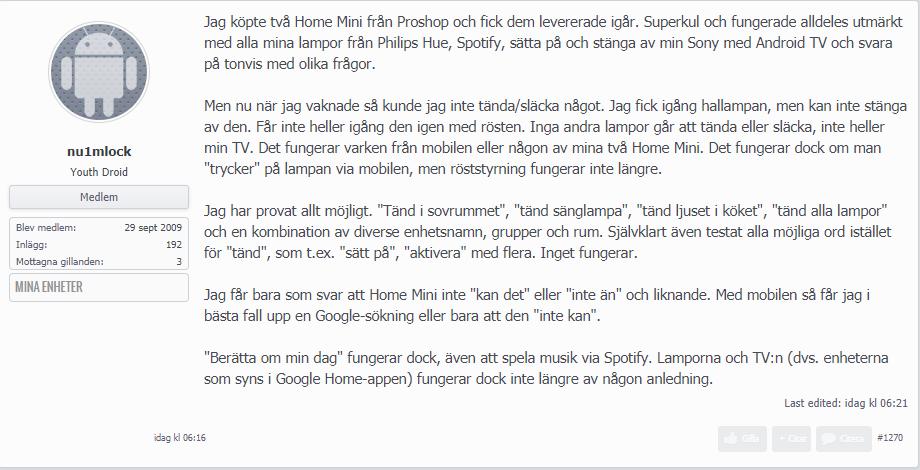 Skärmklipp från Swedroids Forum.
