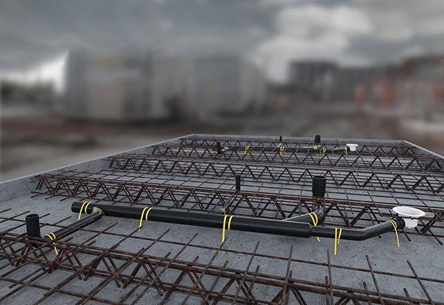 Knappens filigrangroda gjuts in i betongen ute på byggplatsen.  Tack vare avsaknaden av lösdelar i våra svetsade avloppsgrodor underlättar detta väldigt mycket för dem som klampar runt på byggplatsen. Kort sagt, det håller!