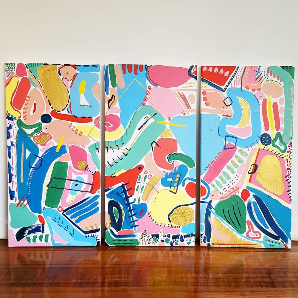 'Three Pieces'  - acrylic on canvas, 920mm x 610mm $340