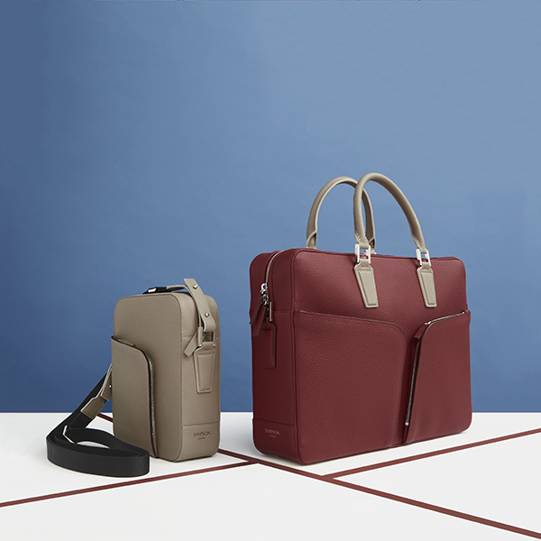 Left to Right:   Mini Shoulder Bag in Taupe (FG00136242)  12 Hour Business Bag in Red (FG00135910)