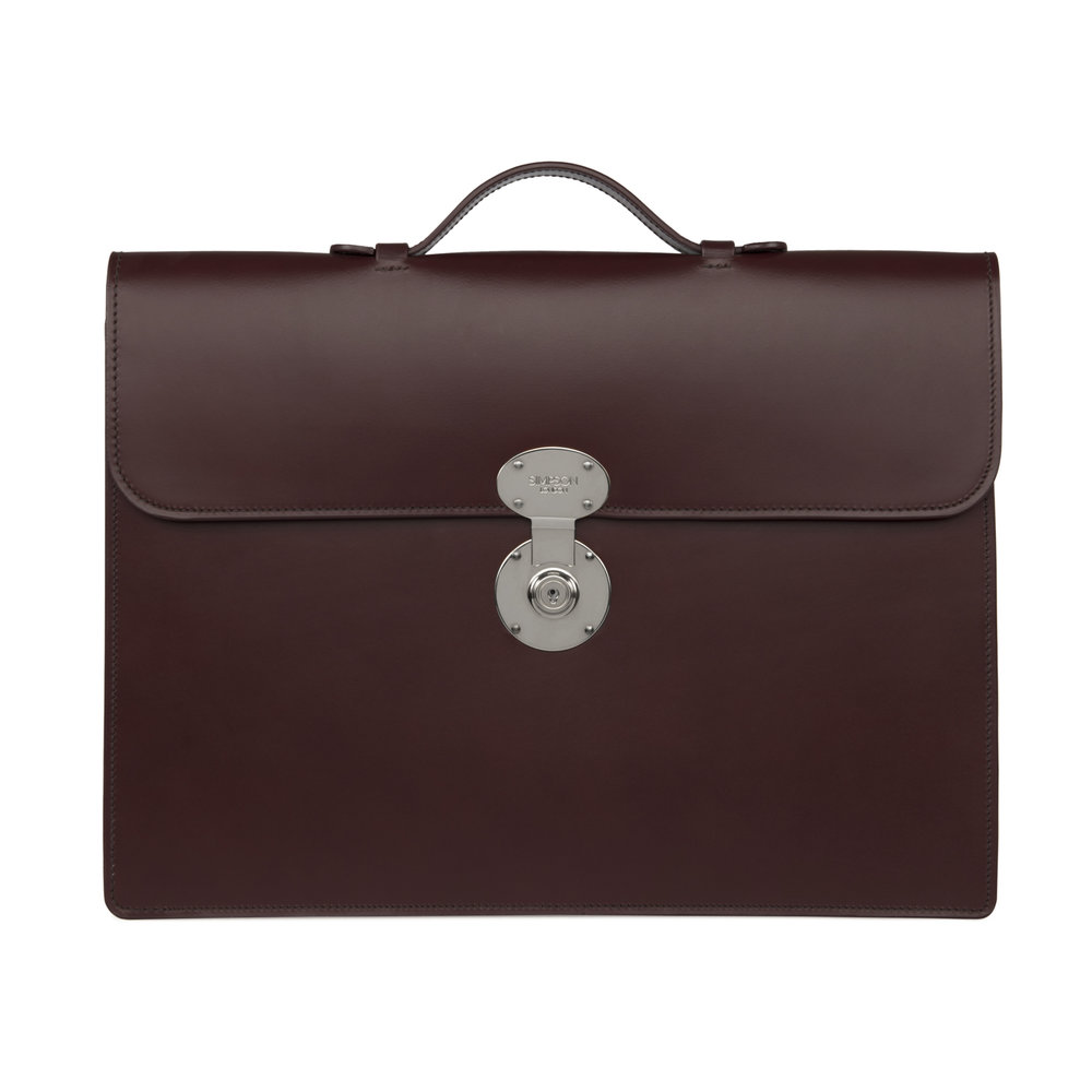 5ca6a7f7765b5 Classic Slim Briefcase - Oxblood — Simpson London - Luxury Leather Goods  and Bespoke British Craftsmanship - Handcrafted in London