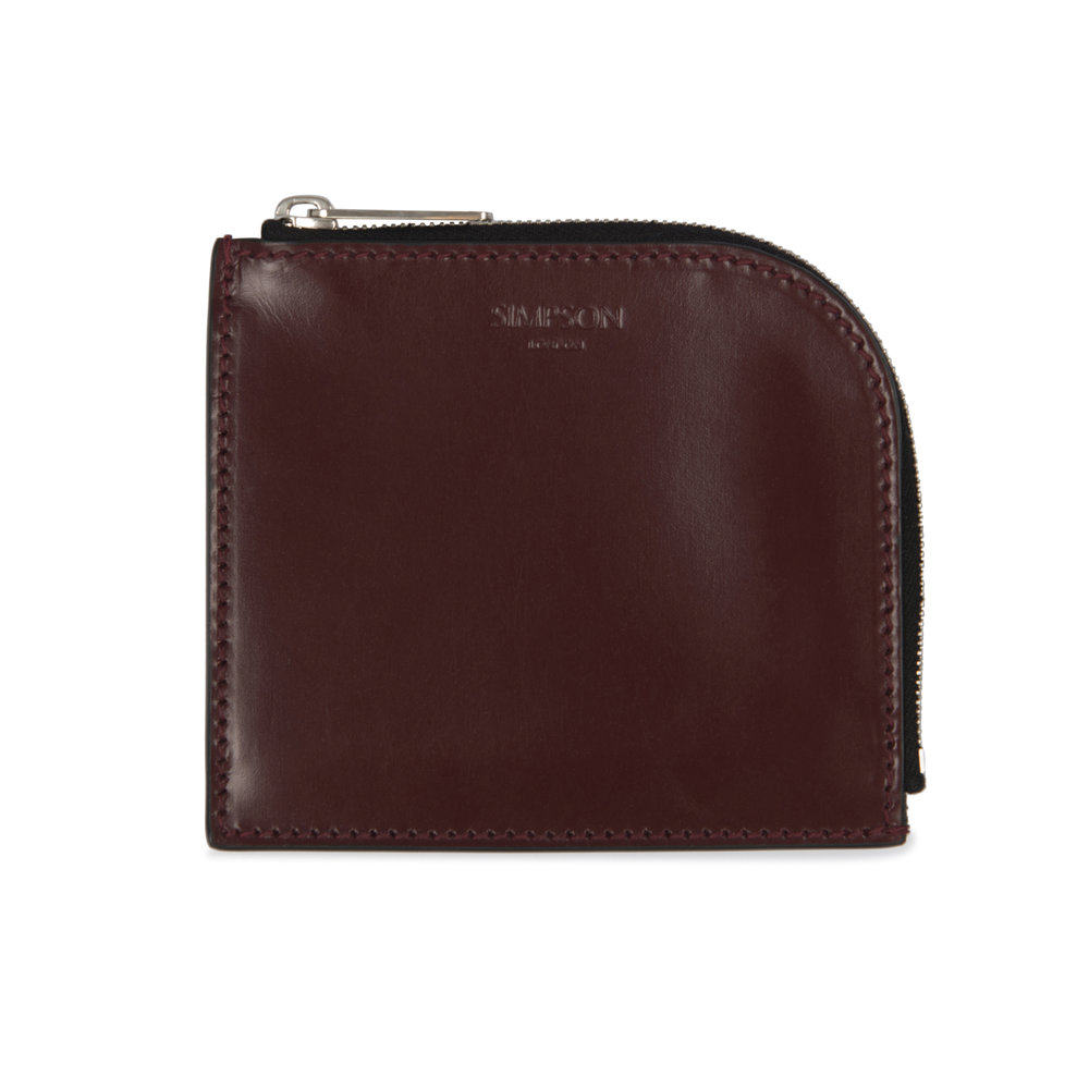 95e79533d Half Zip Coin Wallet - Oxblood — Simpson London - Luxury Leather Goods and  Bespoke British Craftsmanship - Handcrafted in London