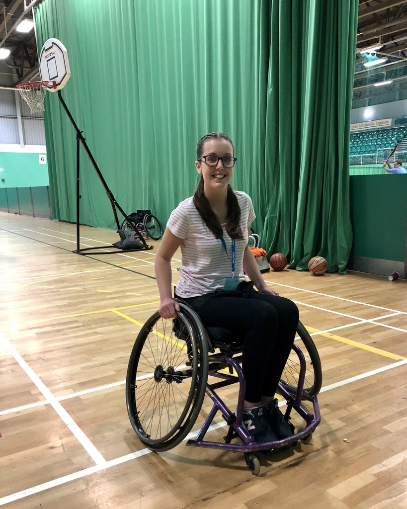 Playing Wheelchair Basketball at the wheelpower get active event!