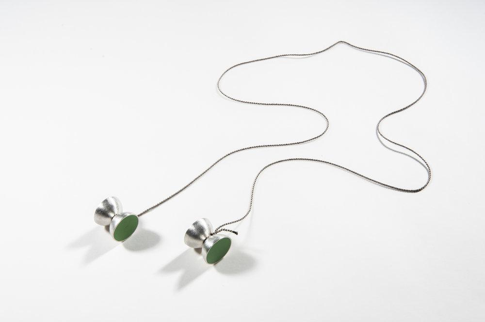 Kindergarten | Necklace  Sterling Silver,Polyurethane, Silk Cord | 2 x 2 x 2 cm (cord length -90 cm)