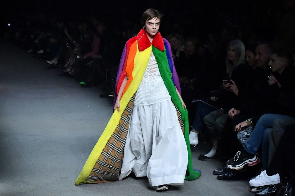 Amazing rainbow faux fur coat from the F/W 2018 collection (image Ban Stansall /Getty)