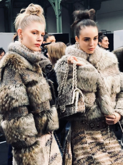 Rows of faux furs at Chanel F/W 2018