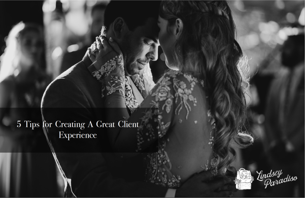 "Lindsey Paradiso - Based on years of experience of working with couples, Lindsey has put together these tips, so that your clients won't ever end up disappointed! Download now the free PDF with ""5Tips for Creating A Great Client Experience""."