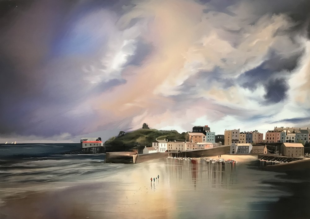 Title Reflections of Tenby Media Master Canvas Print hand finished with acrylic and varnishes. Sise 16x23%22 Price £275.jpg