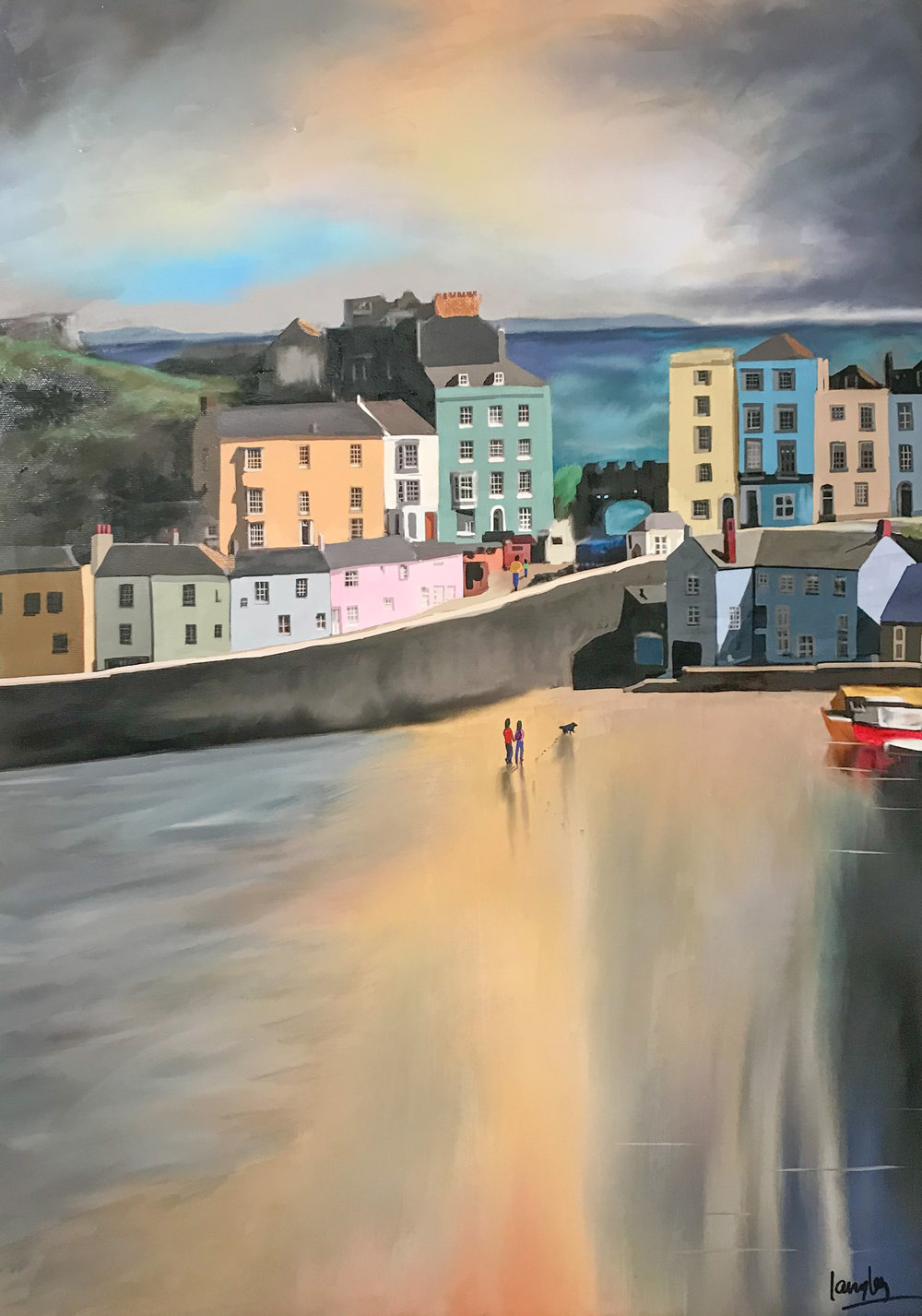 Title Colured Houses of Tenby  Media Master Canvas Print hand finished with acrylic and varnishes. Sise 16x23%22 Price £275.jpg