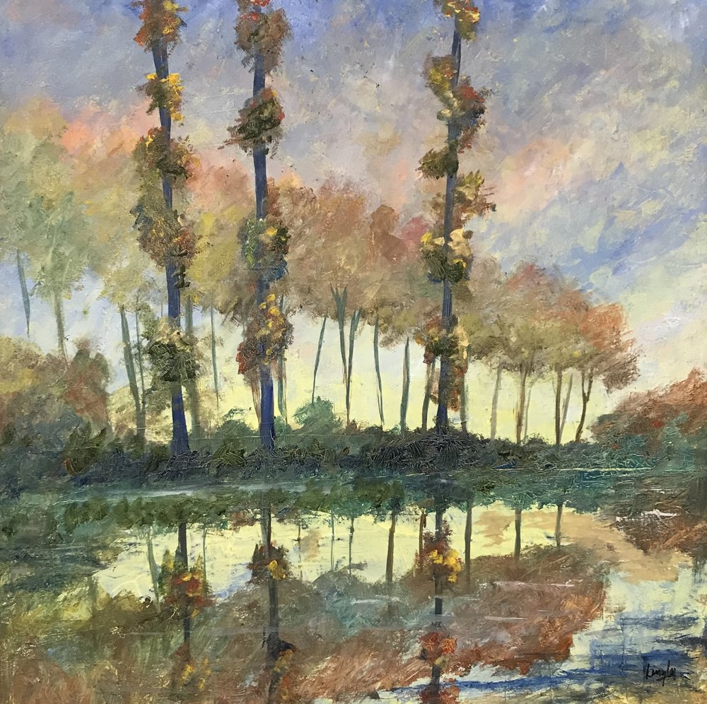 Monet's Lake - Oil on Canvas 20x20%22 Presented in bronze frame. Price £475.00.jpg