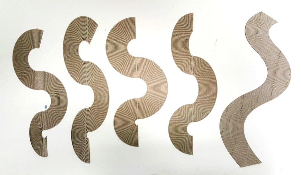 Many versions of the curves were developed digitally, then laser cut and tested, Forms eventually were narrowed down to only those that could be manufactured via laser cutting or plasma cutting due to considerations for manufacture.