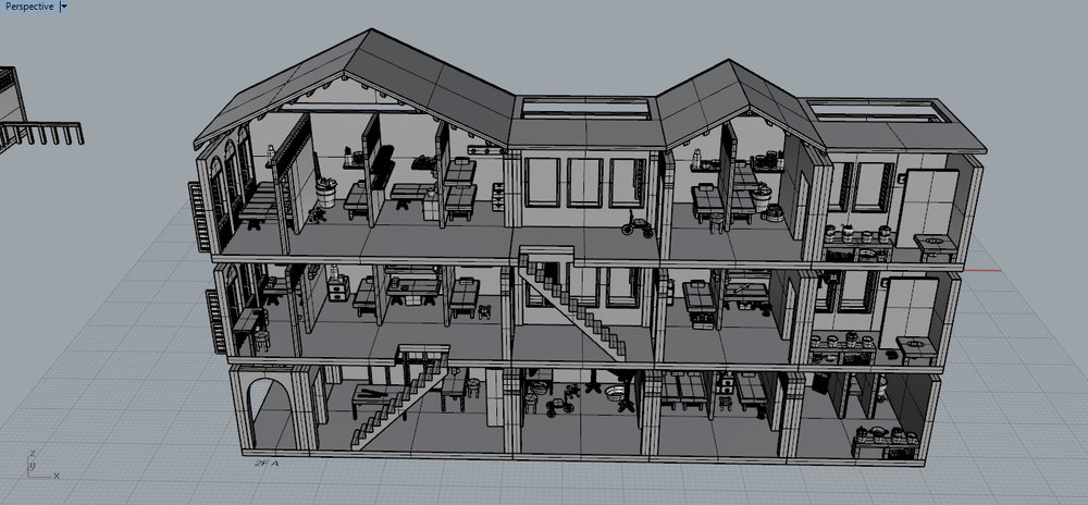 3D Modeling of assets on Rhino3D,Shophouse, Augmented Reality content