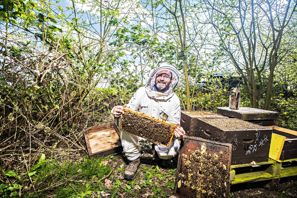 Bee Keeper and Honey producer Michael Coe, Coggeshall, Essex.