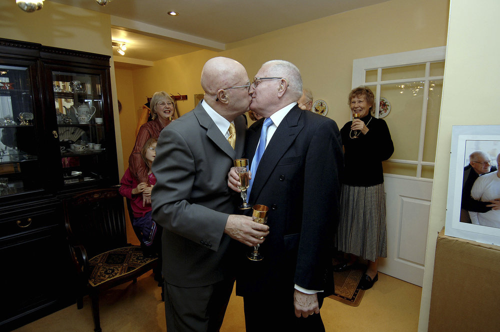 Alan Ashmore(left) and his partner of 35 years Ivan Rowland, celebrating their legal partnership today - Picture John Ferguson