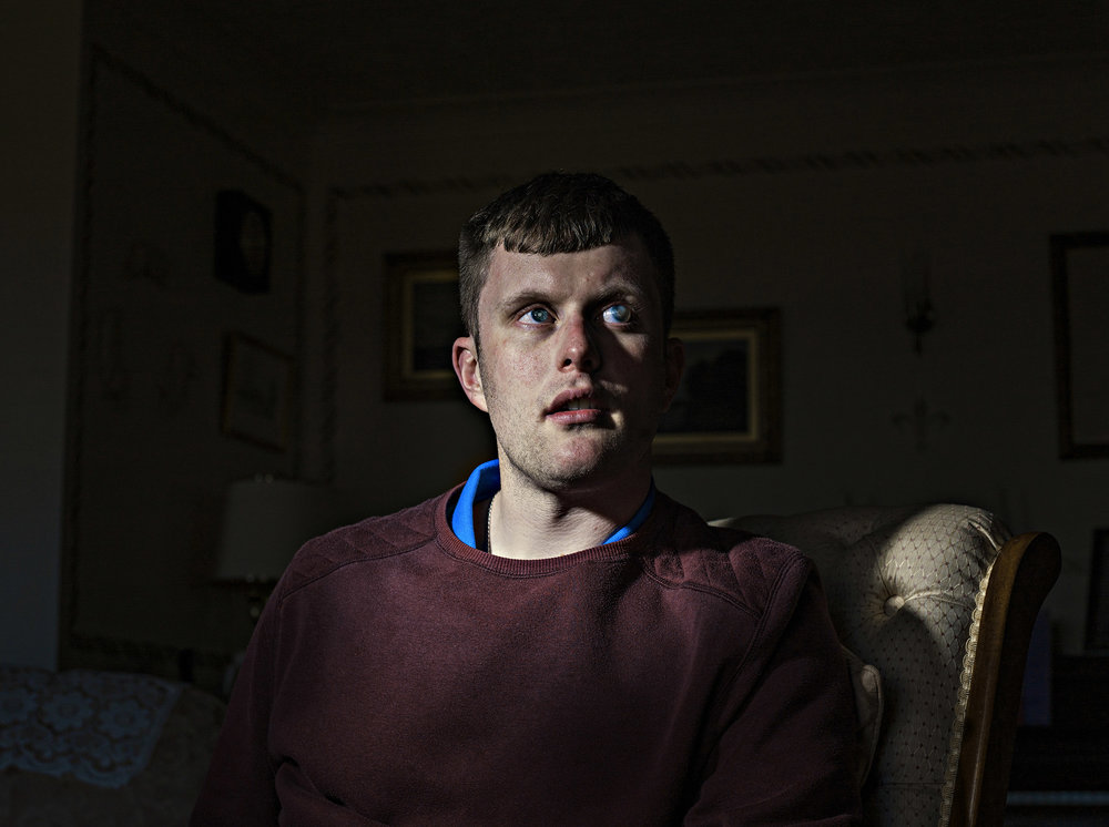Blind since birth, 28 year old Edward Bates photographed at his home in Norfolk.