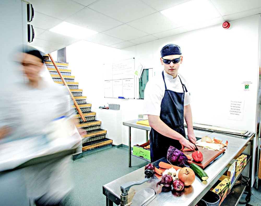 Adam photographed working as a trainee Chef at the Alex Restaurant, on the Felixstowe Seafront, Suffolk.