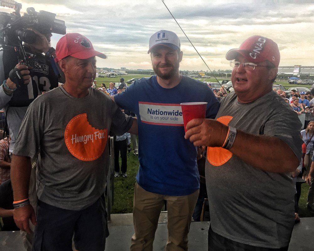 Our winners, Bill and Ron McBeath, with one of their Hungry Fan Throwdown coaches,  Dale Earnhardt Jr.