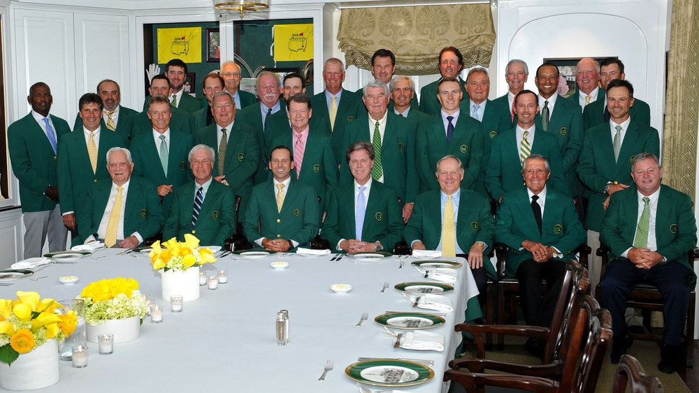 The 2018 Champions Dinner portrait features 2017 winner Sergio Garcia. (We love Bubba Watson—back left—who looks like he is waving. Lol, Bubba)! Sergio's menu selections were a nod to his Spanish culture. He featured  Arroz Caldoso de Bogavante , a lobster rice dish popular in Spain. Dinner attendees were treated to a dessert of Tres Leches Cake, which, believe or not, was Sergio's mother's recipe and it was served alongside tres leches ice cream. Featured wines included a 2016 Sketch (Albarino, Rias Baixas) and a 2014 Pinea (Tempranillo, Ribera Del Duero)—both from Spain, of course.