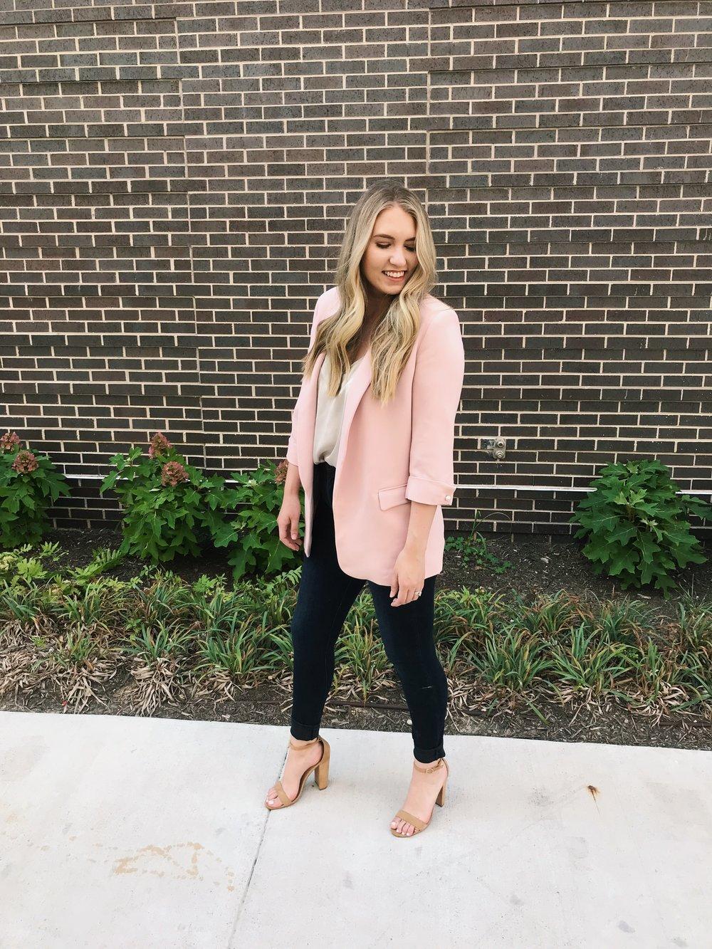 Zara blazer -  here ( similar )/ Steve Madden heels -  here ( similar )/ Gap denim -  here  / Target top - ( similar )